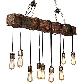 Lustre Industriel Bois Suspension Industrielle Luminaire Vintage Salon Cuisine Lampe Plafond pour E27 Lampe