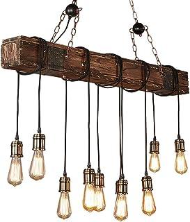 Lampara techo Vintage Industrial Madera Cuerda Rustica Retro Lampara Colgante Dormitorio Lámparas de Araña Habitacion Lamparas
