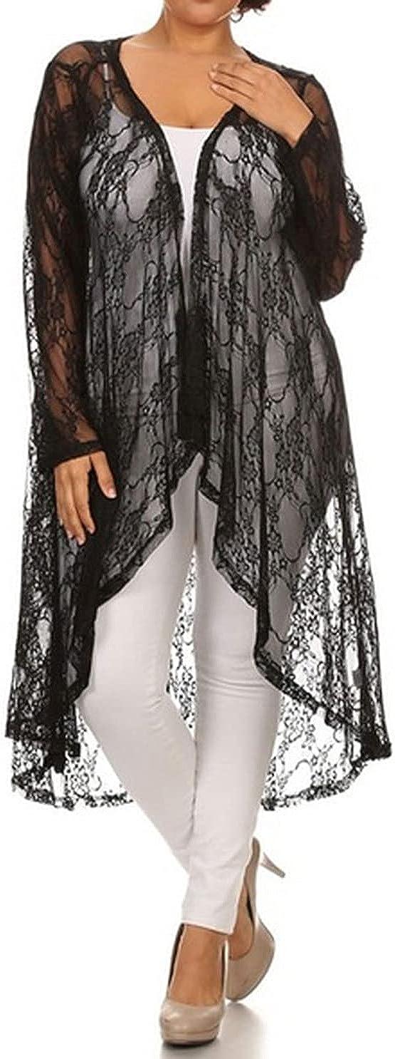 646 - Sheer Lace Long Sleeve Open Front Long Body Asymmetric Hem Hi Low Cardigan