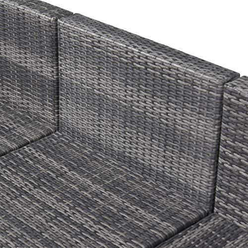 Outsunny 7-TLG. Polyrattan Gartengarnitur Gartenmöbel Garten-Set Sitzgruppe Loungeset Loungemöbel inkl. Fußhocker Sitzkissen Grau Stahl + Polyester 58 x 58 x 37 cm - 9