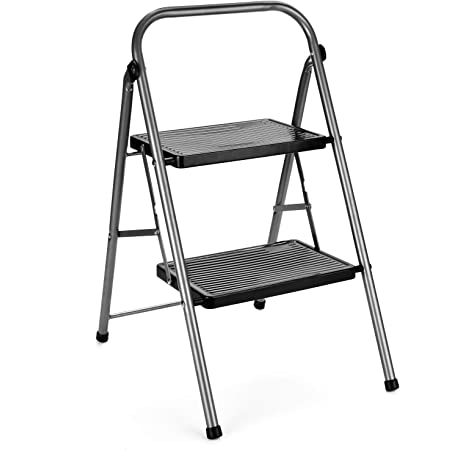 Delxo Folding Step Stool- 2 Step Ladder with Anti-Slip Pedal, Hold Up to 330LBS Lightweight and Multi-Use for Household and Kitchen Small 2 Step Stool Steel Grey