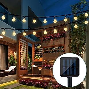 Solar String Lights Garden, Usboo 20 Ft 30 Crystal Balls Waterproof LED Fairy Lights, 8 Modes Outdoor Starry Lights Solar Powered String Lights, Decorative Lighting for Home, Garden, Party, Festival (Warm White)