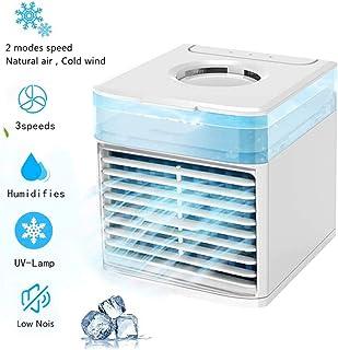 Yumeng Air Cooler Mini humidificador portátil de aire acondicionado 5 en 1 USB ventilador de escritorio, mini refrigerador evaporativo con colores luz nocturna adecuado para la oficina en el hogar