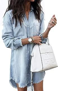Women's Denim Blouse Dress Button Down T-Shirt Tops with Pockets