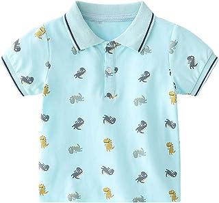 Camisa Polo para Niños Camiseta Algodón T-Shirt Manga Corta Dibujos Animados Dinosaurio Tops Trajes de Verano