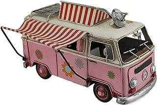 Zeckos Vintage Look Pink Hippie Camper Wagon Statue