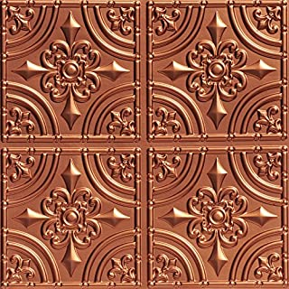 Wrought Iron-Faux Tin Ceiling Tile -Copper 25-Pack