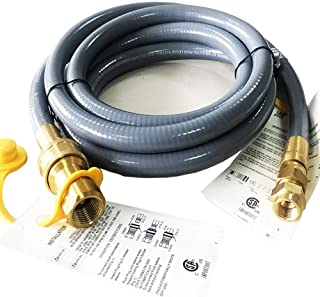 """10 Feet 1/2 ID Natural Gas Hose Conversion Kit, Propane Gas Grill Quick Connect/Disconnect Hose Assembly with Adapter 1/2""""..."""