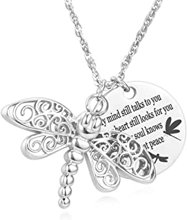 Dragonfly Urn Necklace for Ashes My Soul Knows You are at Peace Memory Tag Cremation Jewelry