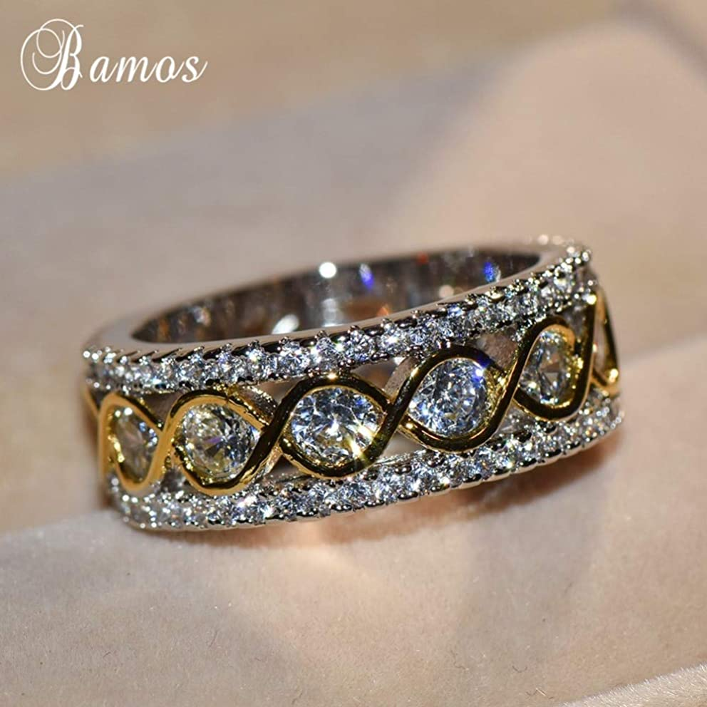 Exquisite Gold & Silver Color Promise Rings | Personalized Infinity Ring | Vintage Jewelry Luxury Wedding Bands | for Women