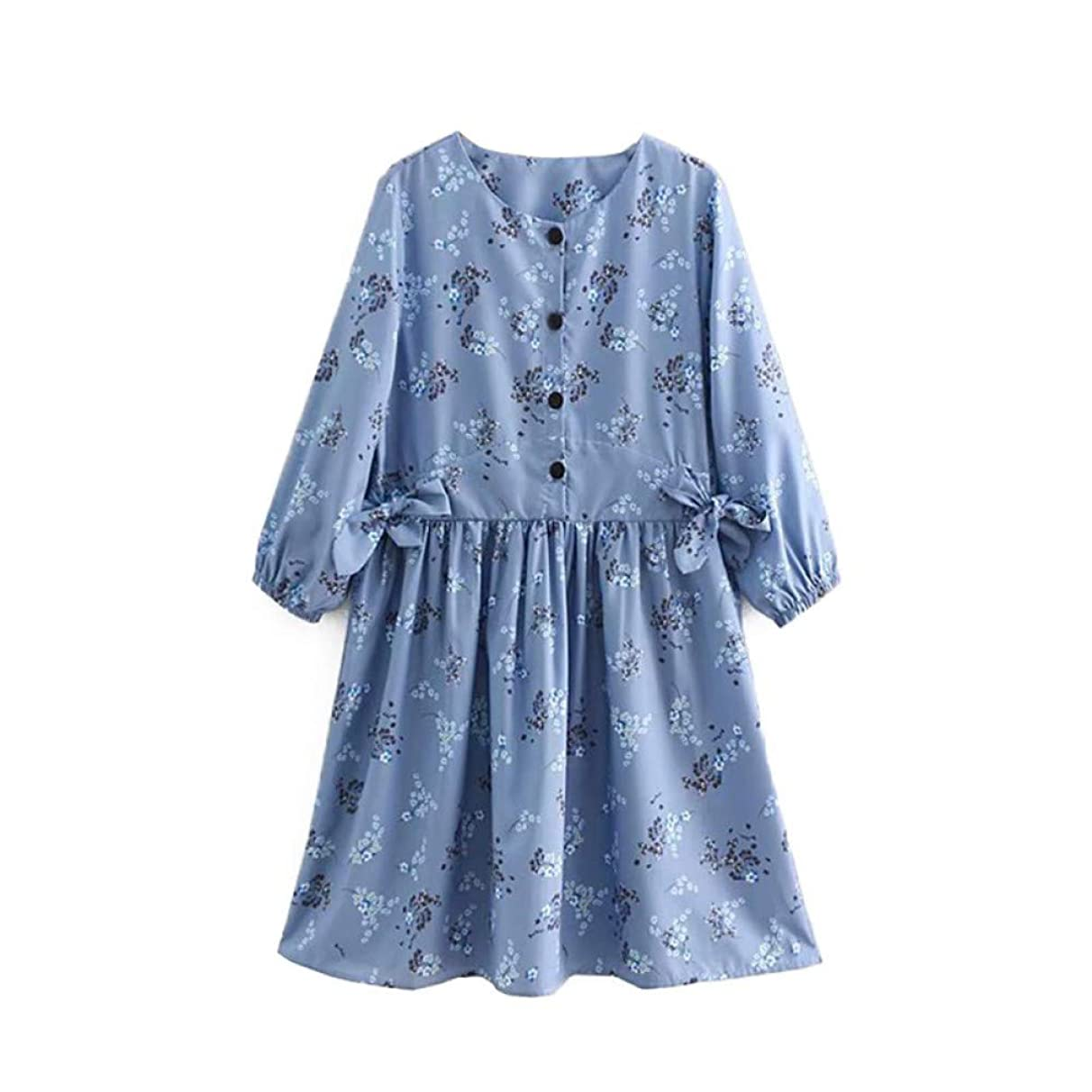 DRLYQYJF Vintage Sweet Button Floral Print Mini Dress Women Fashion O Neck Bow Tie Decorate Short Dresses Casual