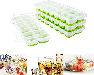 Towinle 4 Bandejas Hielo Grande con Tapa - Silicona Alimentaria Flexible/Cubo Enorme 4 * 3cm - 56 Huecos Color Verde