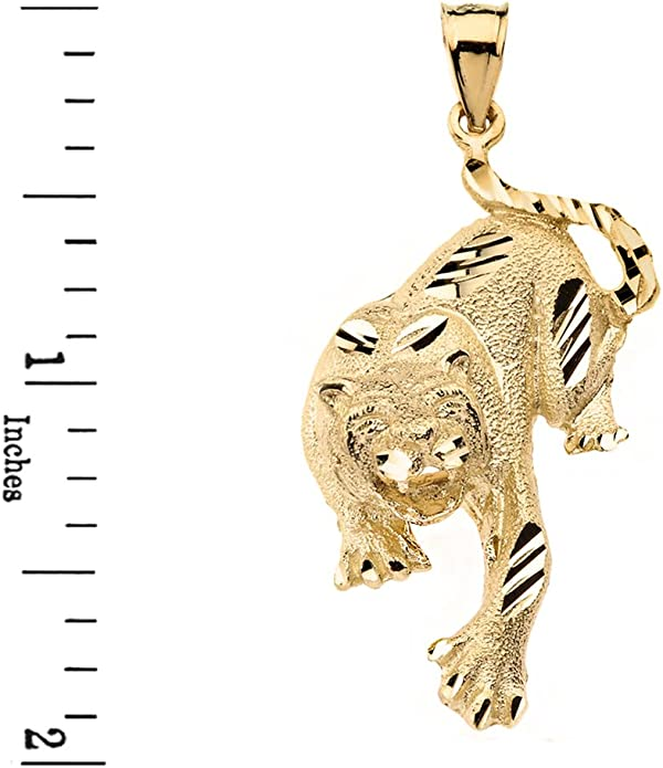 14k Solid Rose Gold Diamond Cut Tiger Cat Animal Pendant Necklace