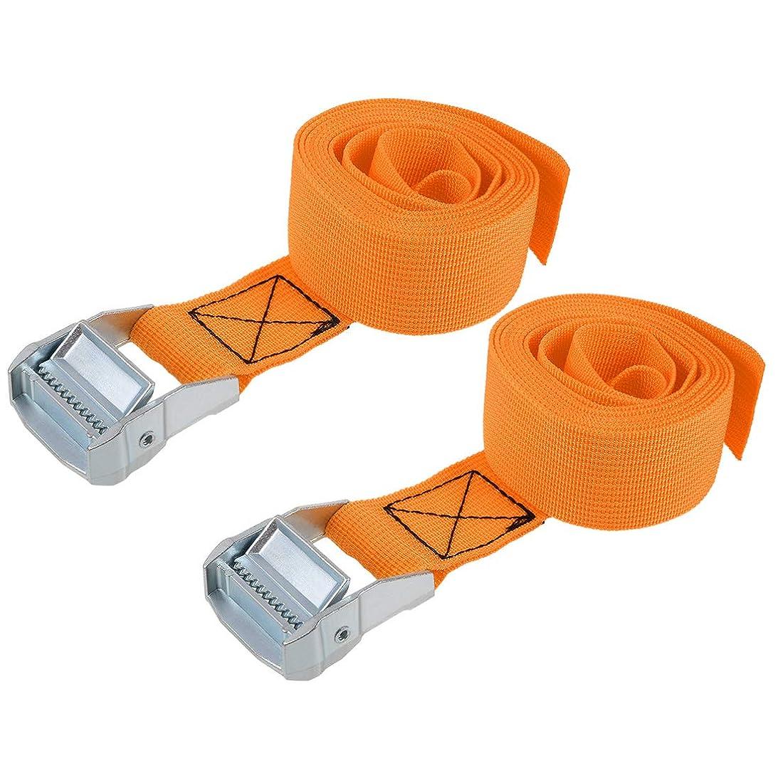 マッシュクラッチ合意uxcell ラッシングストラップ 荷物固定ロープ 荷締めベルト 荷締バンド 落下防止 貨物輸送 オレンジ 2M長さ 38mm幅 荷重500kg 貨物タイダウンストラップ 2個入り