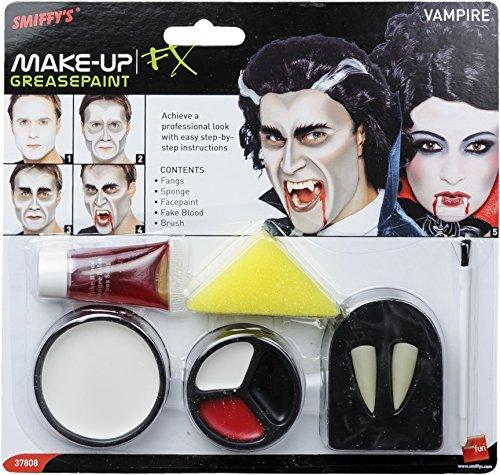 SMIFFYS Smiffy's Set make up da vampiro con denti, spugna, trucco per il viso e sangue in tubetto per Adulti, Bianco & rosso, 37808