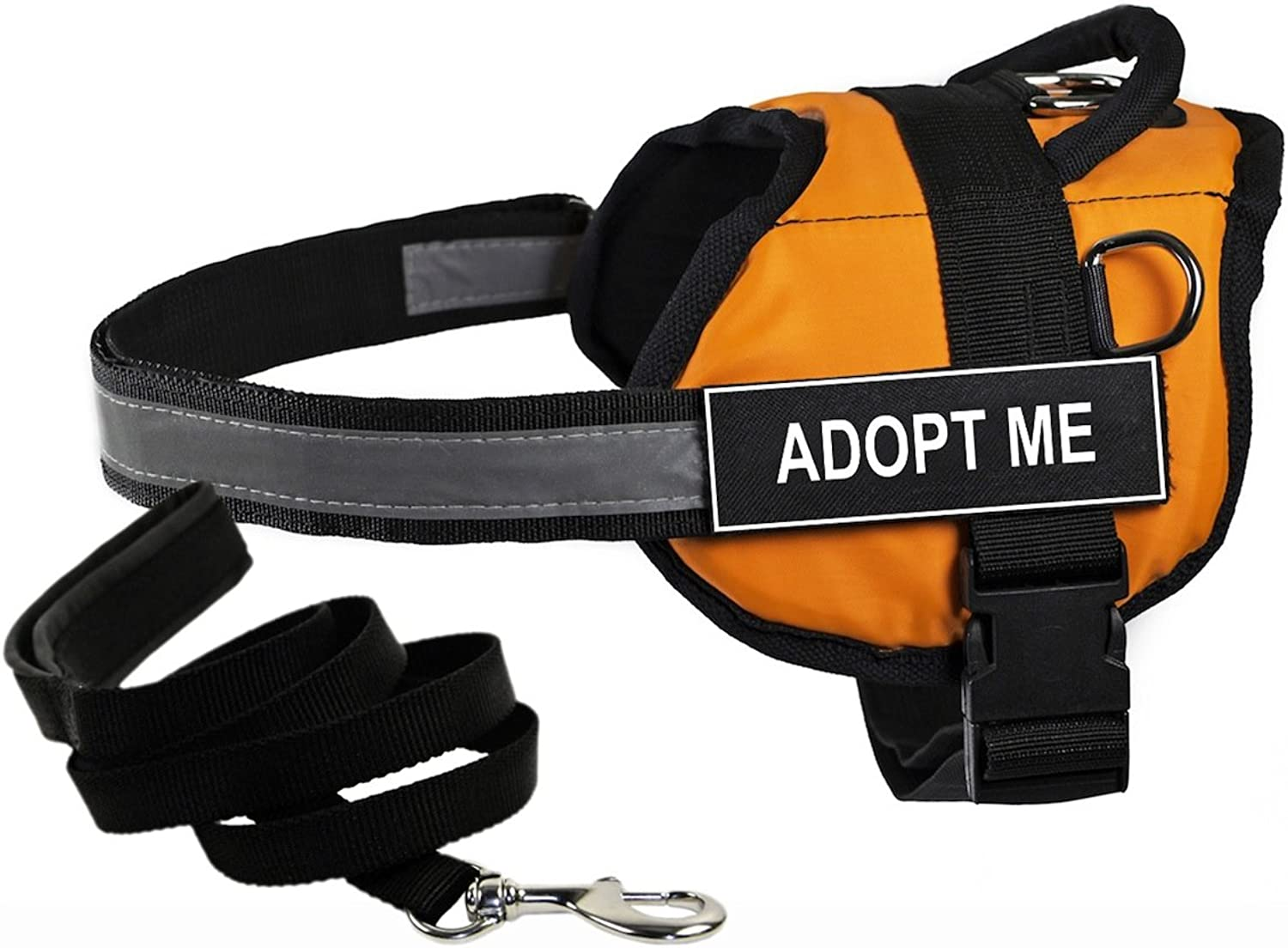 Dean & Tyler's DT Works orange ADOPT ME Harness with, Large, and Black 6 ft Padded Puppy Leash.