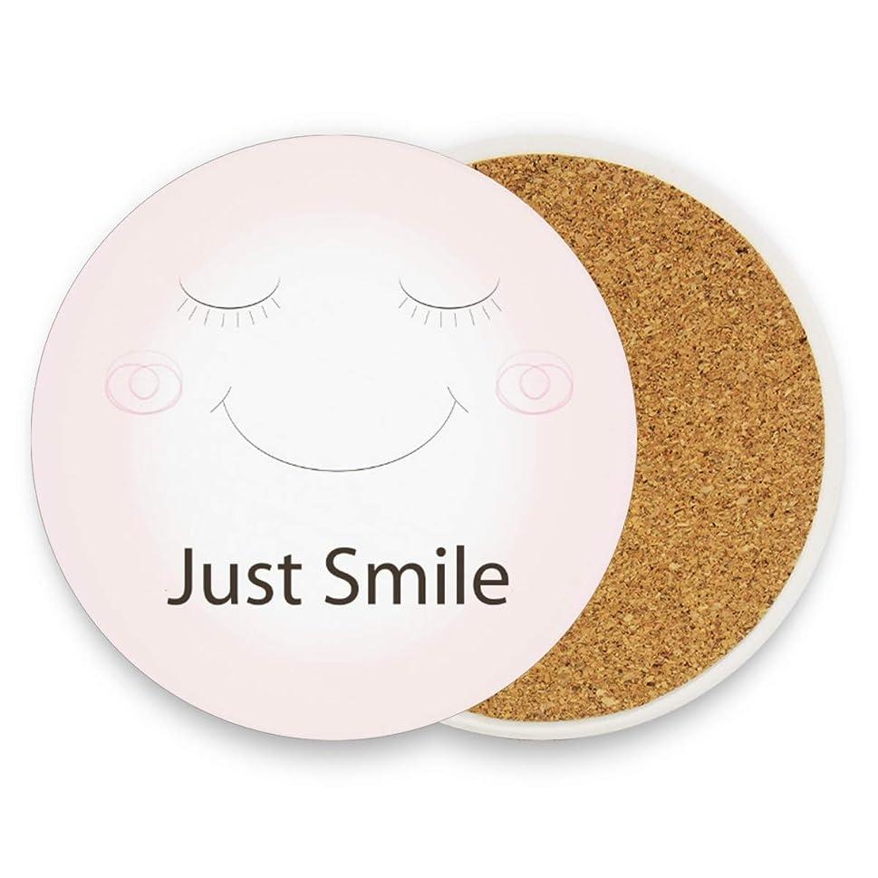 つぶやき乱れトリップコースター エコ素材 防水 Smile 微笑む ピンク かわいい 円形 4枚セット 断熱パッド 優れた耐熱性 高耐久性 滑り止め 速乾 コップ敷き 飲茶 飲コーヒー キッチン オフィス 喫茶店