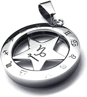 Bishilin Stainless Steel Fashion Men Women Necklace Pendant Spinner Zodiac Capricorn 18Inch
