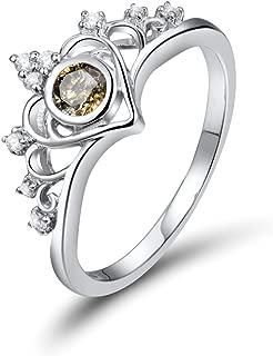Noble Unique Fine Jewelry Coffee Diamond Gemstone Wedding 14K White Gold Band Ring