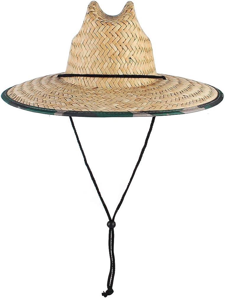 GEMVIE UPF 50+ Straw Lifeguard Hat,Unisex Straw Sun Hat Printed Wide Brim Summer Beach Straw Fedora Cap Outdoor Fishing Hat