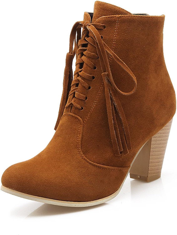 AIWEIYi Womens Chunky High Heels Ankle Boots Tassel Lace up Platform Women Booties Black