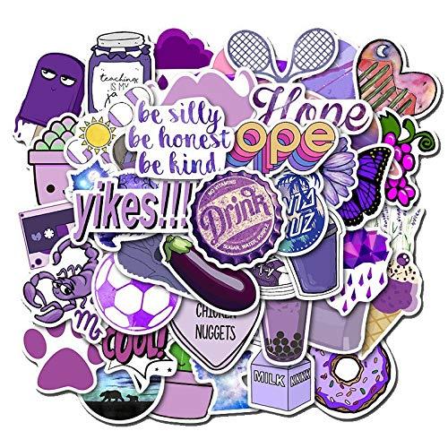 ZZX Purple Style Sticker Skateboard Helmet Gift Box Bike Computer Sticker 50Pcs