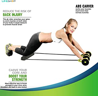 LifeShop Roll N Flex Ab Roller Abdominal Muscle Trainer And Flex Workout