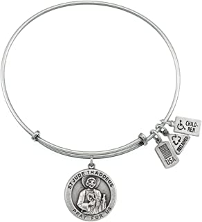 Wind and Fire Saint Jude Thaddeus Silver Medal Charm Bangle