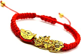 Feng Shui The Best Red String Bracelet with Pi Xiu/Pi Yao and Carved Mantra Golden Good Luck Bead/Wealth Ingots Bracelet J...