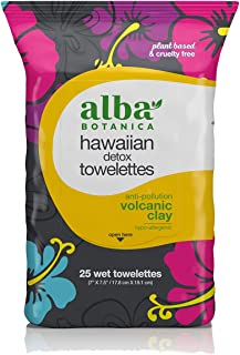 Alba Botanica Anti-Pollution Volcanic Clay Hawaiian Detox Towelettes, 30 Count