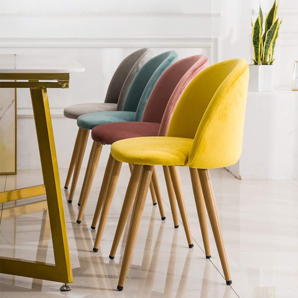 Nordique Chaise De Salle À Manger Velours Tulipe Chaise Naturel Bois Massif Jambes Accent Chaises, pour Lounge Lounge/Salon/Café,Jaune Yellow