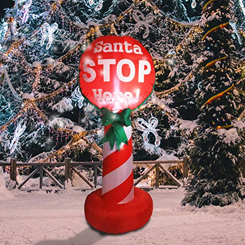 DREAM GARDEN 4 FT Christmas Inflatable Santa Stop Here Sign Built-in LED Lights Blow Up Christmas Outdoor Yard Decorations