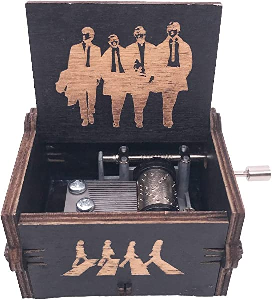 The Beatles Music Box Hand Crank Musical Box Carved Wood Musical Gifts Play Let It Be Black