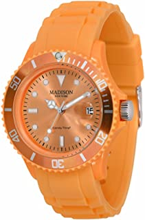 Madison New York - SL4167PO - Montre Mixte - Quartz Analogique - Cadran Orange - Bracelet Silicone Orange