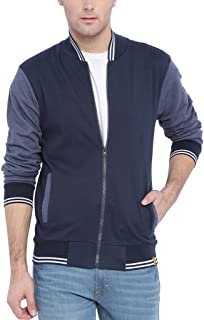 Campus Sutra Ribbed Collar Crew Neck with Front Zipper Jacket for Men