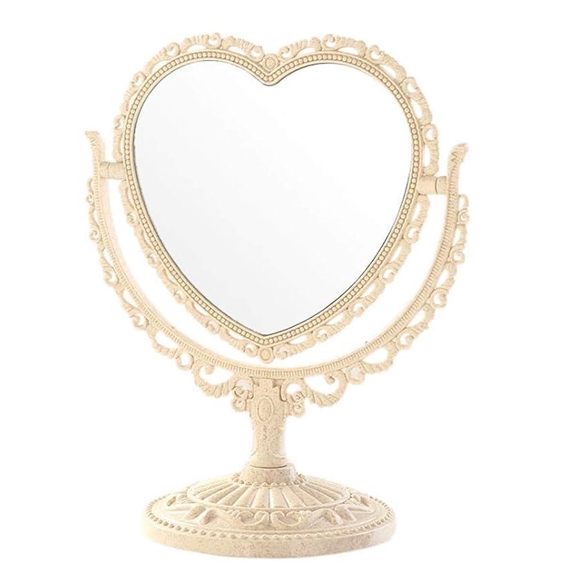 [クイーンビー] 卓上 ミラー ハート 型 かわいい お洒落 メイク アップ コスメ 美容 化粧 鏡 スタンド 360度 回転 女の子 お姫様 便利 デスク プレゼント (ベージュ)