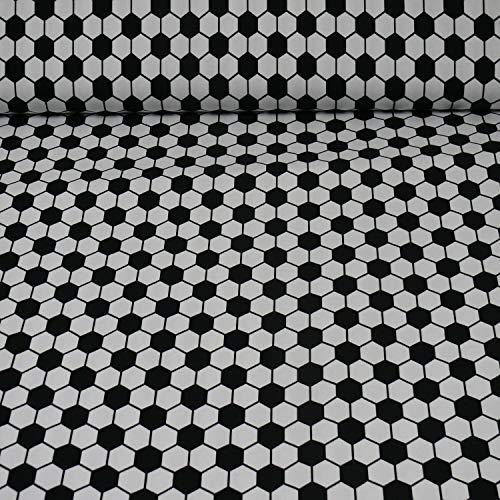 Jersey, Fußbälle (Raute), schwarz/weiß (25cm x 145cm)