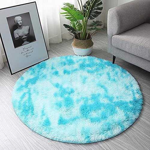 F-FISH Alfombra redonda de pelo largo, suave, antideslizante, para salón, dormitorio, ordenador, silla, color azul cielo