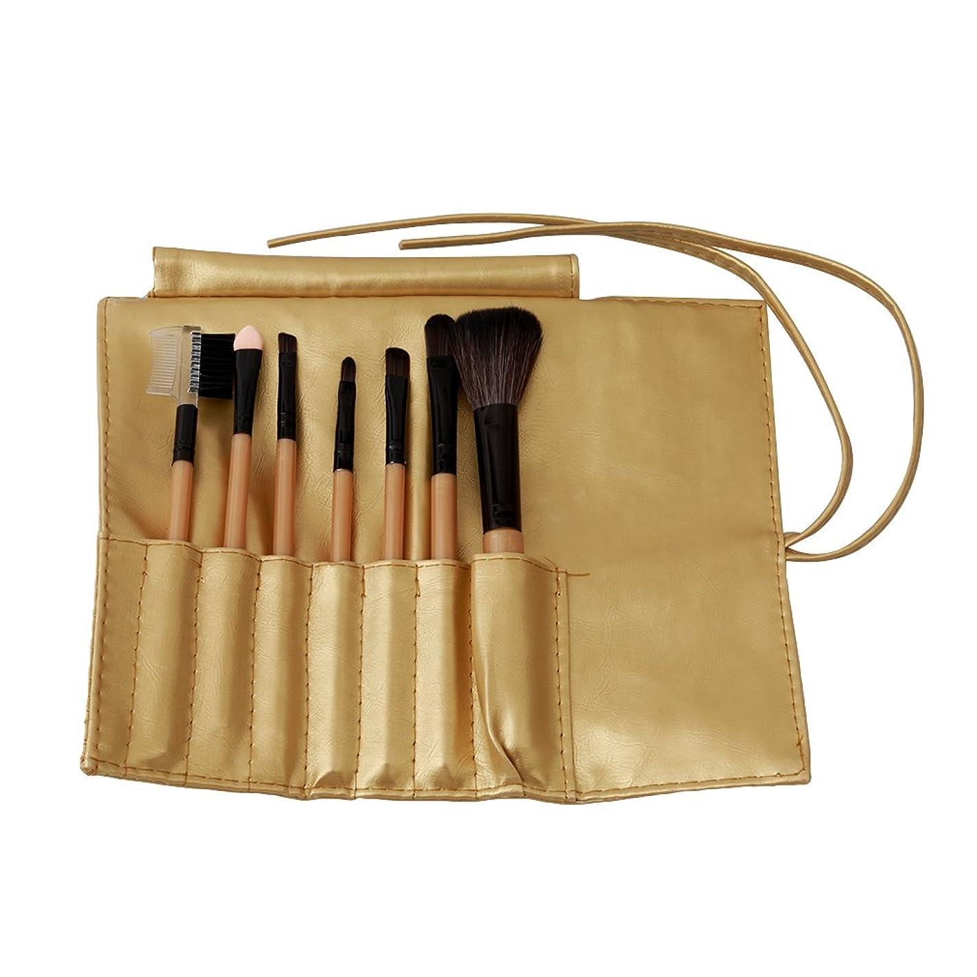 アフリカ人人形拾うLUXWELL(ラクスウェル)PU 専用ポーチ付き 化粧ブラシ 化粧ブラシセット メイクブラシセット 7本 (ゴールド)