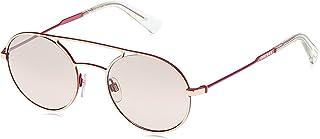 نظارة شمسية للجنسين من ديزل DL030134U51 - لون برونزي فاتح لامع/ بوردو عدسات عاكسة واطار معدني