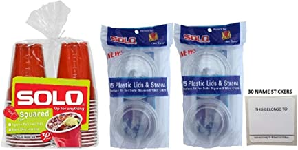 SOLO Squared Red 18 Ounce Plastic Party Cups With Lids, And Straws (30 Cups Plus 30 Lids Plus 30 Straws) With Name Stickers