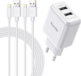 Quntis 12 W 2 poorten iPhone-oplader + 2 stuks 2 m iPhone-oplaadkabel, [MFi-gecertificeerd] USB-voeding en Lightning-kabel...