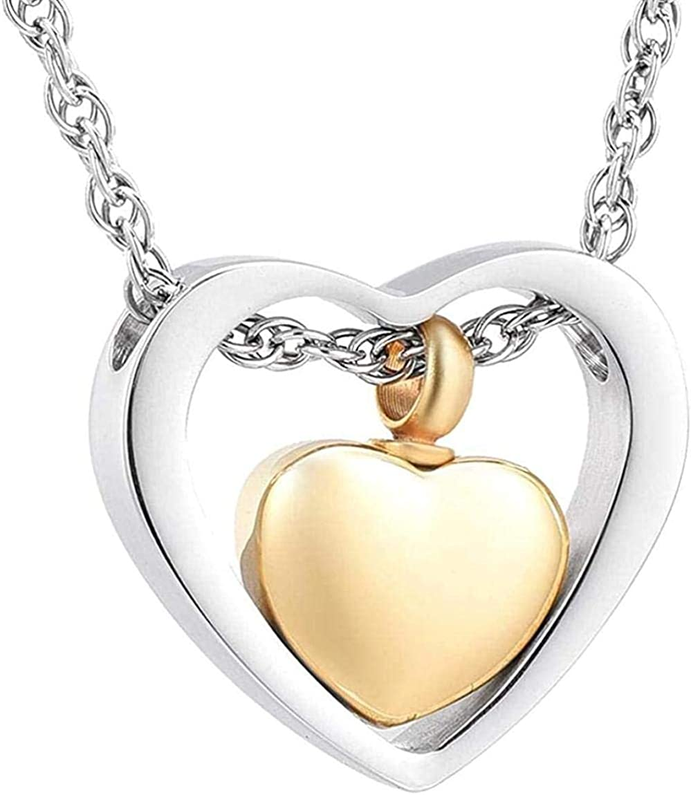Urn Necklace for Ashes Cremation Urn Necklace Pendant Necklace ash Two Hearts Cremation Jewelry