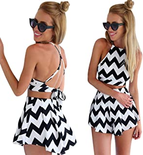 35e6d29e47d Moxeay® Halter Straps Swing Jumpsuit Crossed Back Playsuit Outfit US  Shipping