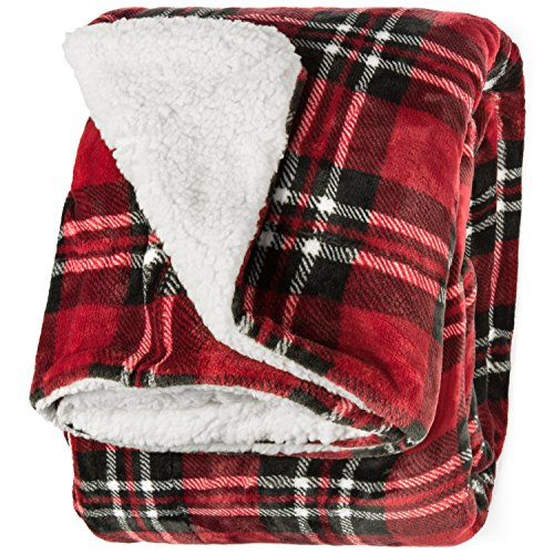 Life Comfort Microfiber Plush Polyester 60'x70' Large All Season Blanket for Bed or Couch Ultimate Sherpa Throw, Red Plaid