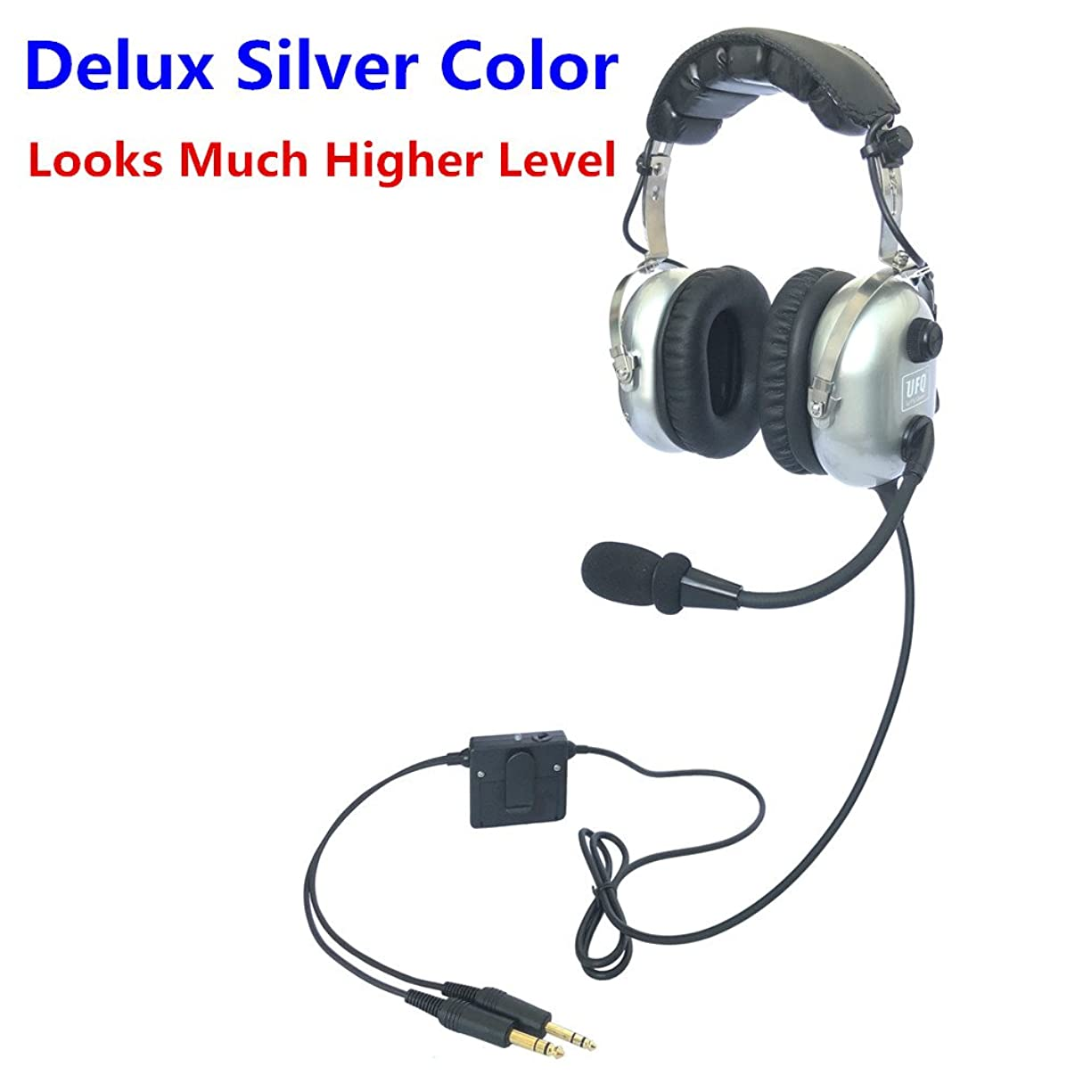 UFQ A28 Delux Silver Color Great ANR Aviation Headset Active Noise Reduction-Compare with Rugged Air RA950 BUT UFQ A28 with Mp3 Input Bose Grade Hi-Fi Sound for Music and Free with a Headset Bag