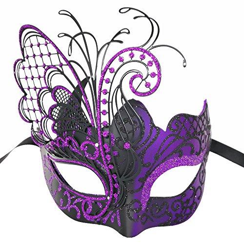 Masquerade Mask For Women Venetian Mask/Halloween/Party/Ball Prom/Mardi Gras/Wedding/Wall Decoration-Purple butterfly