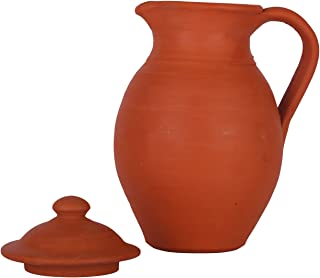 Handmade Earthen Clay Water Jug with Lid - Milk Water Jug Carafes Pitcher Table Top Kitchen Storage Eco Friendly Containers Pots Drinkware