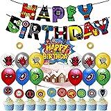 38 Piezas Globo Superhero Avengers HANEL-Globos de Fiesta Látex Balloons, Superhero Happy Birthday Banner Suministros de Fiesta Cumpleaños para Niño Celebraciones y Suministros