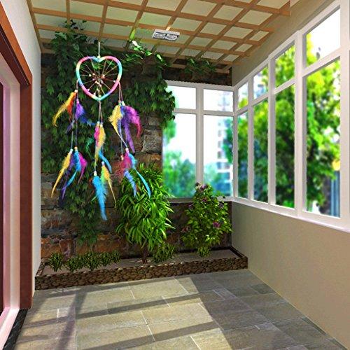 Gazechimp Rainbow Dream Catcher Coeur Boho Plume Attrape-rêves Décoration Murale Maison